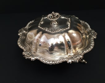 Elegant and OrnateThree piece Footed Butter Dish Silver Plate
