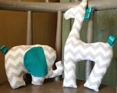 Baby Shower Gift, Stuffed Elephant, Stuffed Giraffe, Plush Toy, Gender Neutral Gift, Teal Chevron