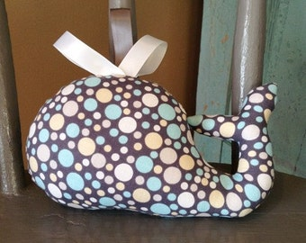 Whale Stuffie, Stuffed Toy, Polka Dots, Teething Toy, Plush Toy, Baby Shower Gift