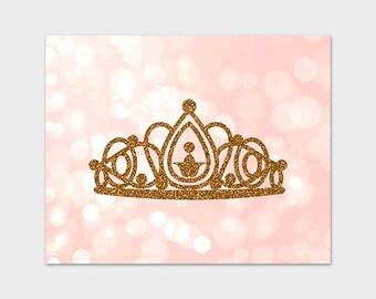 Princess Art Print Printable 8x10 Gold Glitter Tiara Pink Bokeh Sparkle Nursery Print Instant Download Digital Art