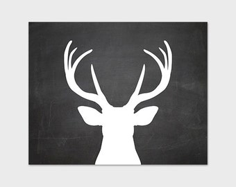 Deer Art Print Printable 8x10 Chalkboard Antler Wall Art Instant Download Deer Home Decor Digital Art Print