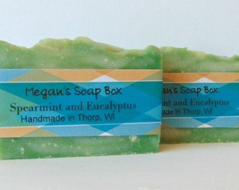Aromatherapy Stress Relief  Spearmint and Eucalyptus Handmade Bar Soap. Made with Essential oils