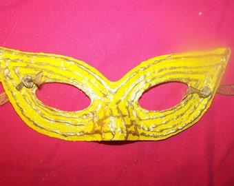 Yellow and Gold Maradi Gras Half Mask