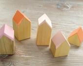 Happy Little Neighborhood - Wood Block Houses - Pinks + Salmon - Natural Wood