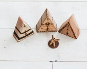 Mini Teepees - w/ Fire Pit - Wood burned detailing - native - tipi - outdoors - kids play - home decor