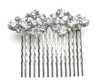 Wedding diamante hair comb, vintage style bridal hair comb, rhinestone bridal hair comb, wedding comb, bridal accessories, haircomb, Ziya
