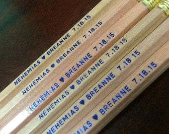 24 Personalized CoupleHeart Pencils: Wedding Favors or Valentines Day