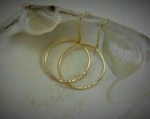 OPEN CIRCLE 1 Inch Hammered Brass, Copper or Sterling Silver Artisan Made Earrings Minimalist Geometric Modern Light Weight Hoop Earrings