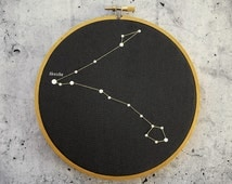 Pisces constellation in embroidery hoop. Pices star chart, Pices Wall Decor, Astrology Print,  Constellation Print