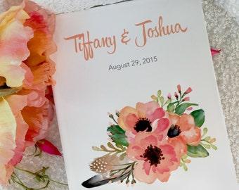 Customized Wedding Guestbook   Floral Guestbook   Blank Journal   Blank Scrapbook   Sketchbook