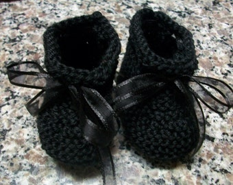 Black Baby Booties, Black Baby Shoes, Black Newborn Shoes, Black Crib Shoes, Black Soft Baby Booties, Black Crochet Baby Shoes