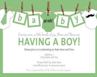 Baby Clothesline Baby Shower Invitations Digital