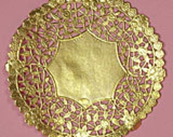 "10"" Decorative Gold Metallic Doilies - 10 Quantity"