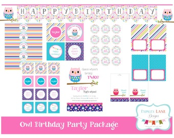 Owl Birthday Party Printable Package