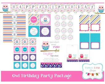 Owl Birthday Party Printable Package, Owl Birthday Party, Look Whoo's Two Birthday, Colorful Birthday, Girl Birthday