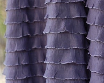 """Steel Orchid Cascading 1"""" Ruffle Fabric -- BY THE YARD"""