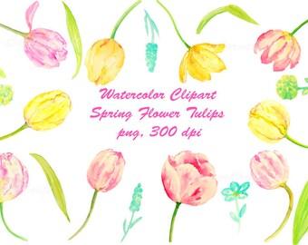 Watercolour clipart tulip flowers pink, purple and orange digital clipart printable instant download scrapbook spring flowers