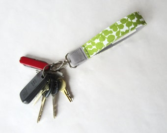 Fabric wristlet keychain key fob green leaves with gray (KF14-002)