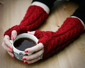Hand Knitted Fingerless Gloves, Burgundy, Extra Long, Mittens, Warm Winrwe Clothing, Wrist Warmer, For Her