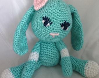 "Amigurumi bunny crocheted robin egg blue with pink bow - 14"" bunny - floppy ears bunny - kid safe stuffed animal - baby gift - #GH001"