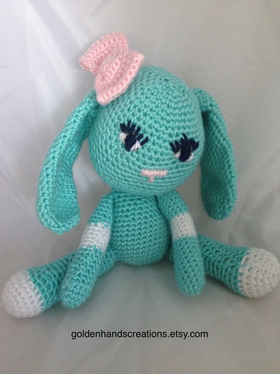 Amigurumi Bunny Ears : Amigurumi bunny crocheted robin egg blue with pink bow