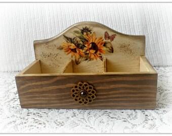 Vintage style open wooden tea box ,  storage box , sunflowers box , decoupage tea box