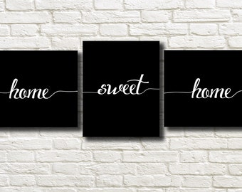 Home Sweet Home Black White Printable Instant Download Set of 2 Wall Art BW104b