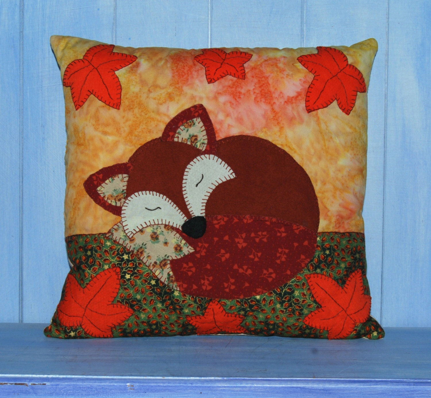 Sleeping Fox Applique Cushion Sewing Pattern Pdf By Wendy