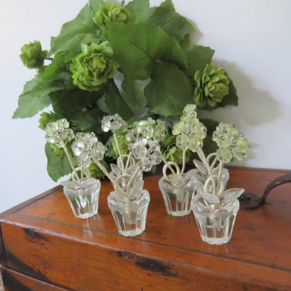 Six Antique Place Card Holders Flower Pot Czech Glass Vintage Yellow White Set of Six