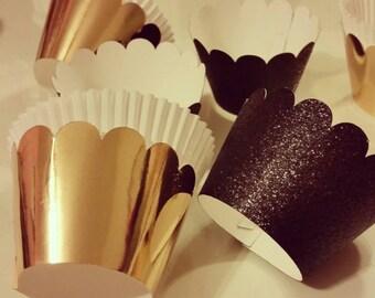 Metallic gold cupcake wrappers