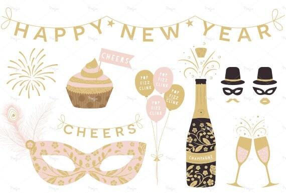 Frohes Neues Jahr-Clipart / / Digital Partei Clipart