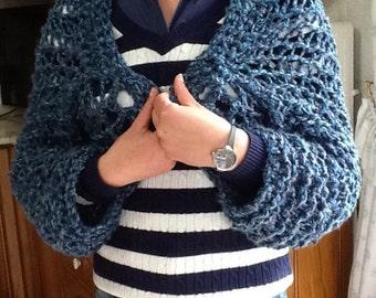 Bolero sweater knitted woman navy blue