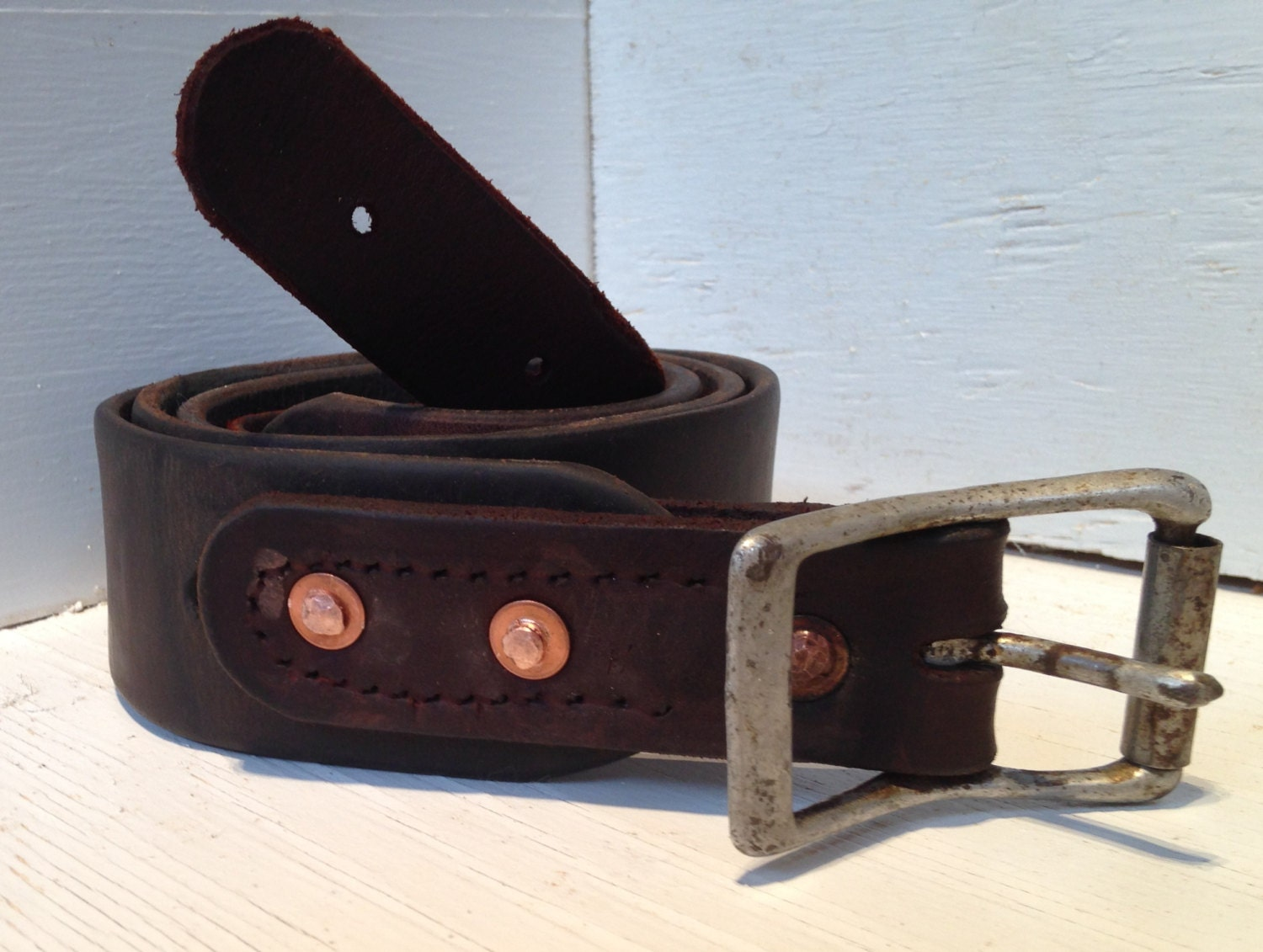 Repurposed latigo leather belt with vintage horse by Repurposed leather belts
