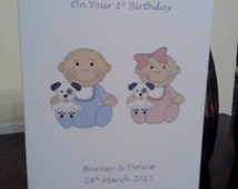 Unique Custom Personalised Babies First 1st Birthday Card - Girl, Boy, Twins, Triplets Grandaughter, Grandson, Son, Daughter, Niece, Nephew