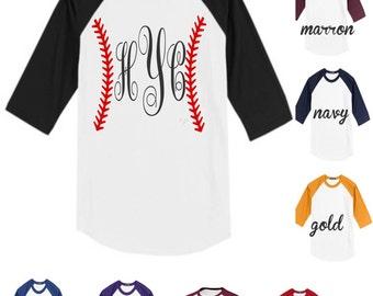 monogrammed baseball shirt, baseball raglan,