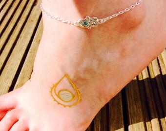 Silver Hamsa Hand Sparkle Anklet, ankle bracelet