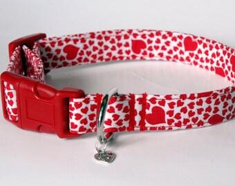 "Handmade White w Red Hearts Valentine Dog Collar ""New"""
