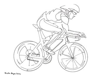 Cyclist, Drawing of a man riding a bicycle