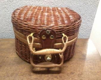 small basket, wicker handbag with two handles