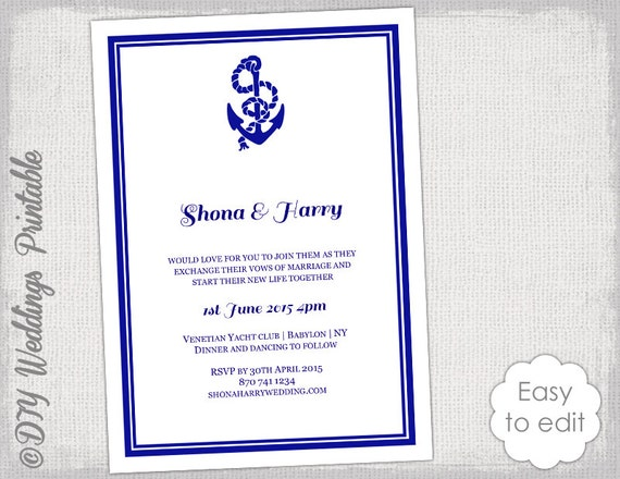 printable nautical wedding invitation template diy
