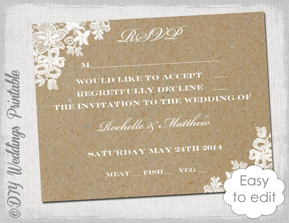 Wedding rsvp template rustic lace printable for Wedding rsvp templates