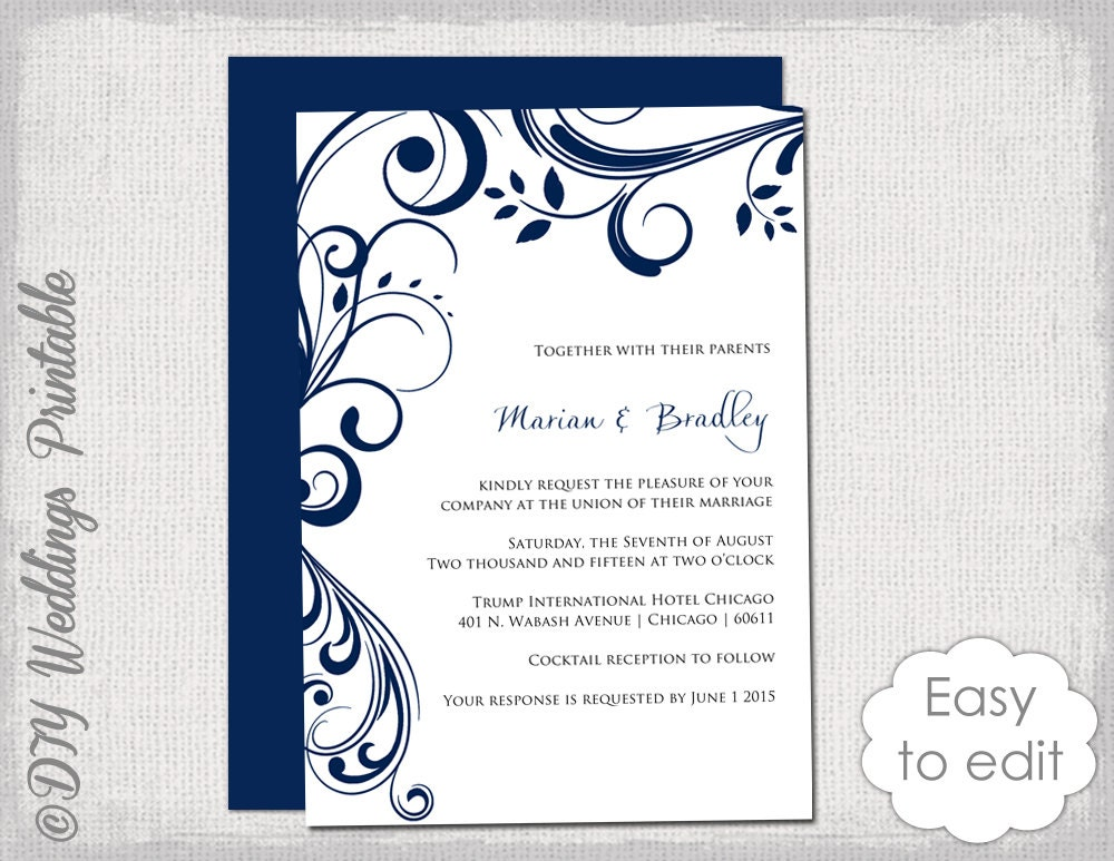 Wedding Invitations Template Word: Navy Wedding Invitation Template Scroll