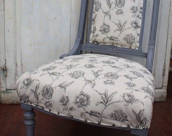 Antique Upholstered Nursing Chair, Hand painted, Distressed and Waxed