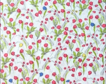 100% Cotton Fat Quarter Makower Flower Meadow on Ivory