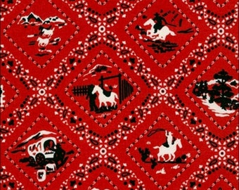 100% Cotton Fat Quarter Robert Kaufman Ride Em Cowboy in Red