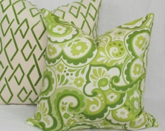 "Green paisley decorative throw pillow cover. 18"" x 18"" toss pillow."