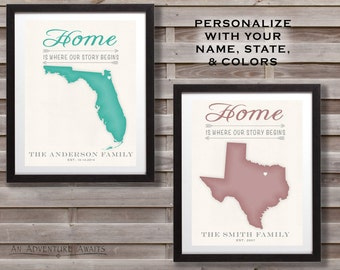 "Personalized Hometown State Map Print - ""Home is where our story begins"" - Map Print"