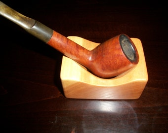Single Cherry Wood Pipe Holder