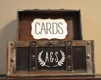 Medium Rustic Wedding Card Box Holder, Rustic Wedding Card Box with initials, Rustic Trunk Wedding Box with Custom Initials B2B
