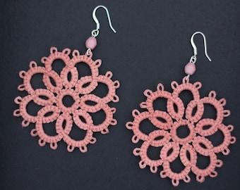 Handmade Tatting Earrings, cotton, light pink